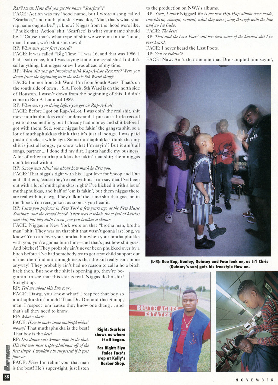Scarface Interview Rap Pages pg. 3